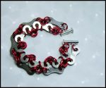 Red Rings Silver Plates Brac. by FeMailleTurtle