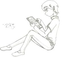 Girl with a tablet by thedybre