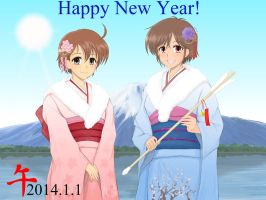 Happy New Year 2014~from Megumi And Meina by yooi