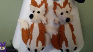 White Pine Felted Fox Ornaments by Vesperwolfy87