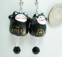 Black Lucky Cats by SpottedOctopus
