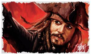 Jonny Depp Pirates Painting by kyle-lambert
