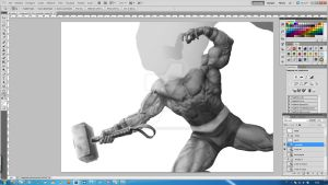 Thor -new digital painting experiment- [step5] by aRmydesigner