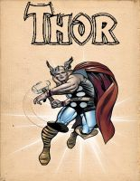 vintage looking thor poster by desithen