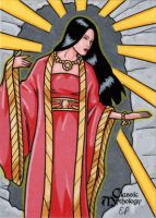 Ameterasu Sketch Card - Classic Mythology by ElainePerna