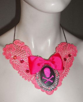 Pink Lace Necklace by Sophie-Adamson