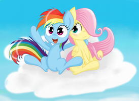 Filly Rainbow Dash and Filly Fluttershy by springveil