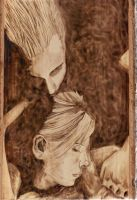 Spike and Buffy Pyrography by wickedtiger86