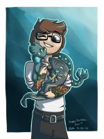 Newt with Tiny Kaiju by ars-autem-lux