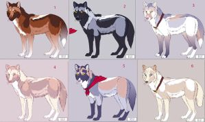 Wolf Adoptables-group 2 by Tazihound
