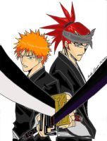 Ichigo and Renji by RainDragonX