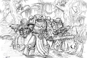 Black Templars are forcing the xeno-swamp by Paha24