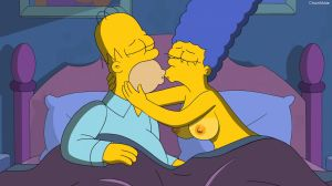 The Simpsons S25E14 Marge and Homer kiss by 2ndChainMale