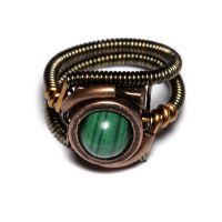Steampunk Ring with Malachite by CatherinetteRings