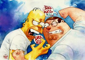 Homer vs Griffin by rogercruz