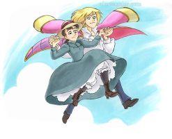 Howl's Moving Castle: Flying by aimeekitty