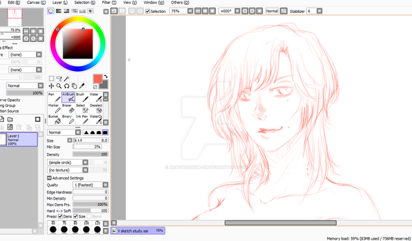Preview sketch on V's new hairstyle by Ai-chan13