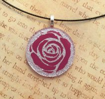 Silver Pink Rose Fused Glass by FusedElegance