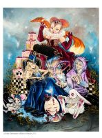 Alice in Wonderland - Painting Fairies by Hollow-Moon-Art