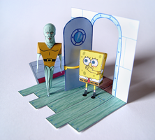 Handsome Squidward Papercraft Diorama by kamibox