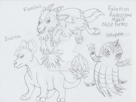 Fakemon Redesigns - Budrom, Flambaa, and Octopulse by AnimeFan4Eternity23