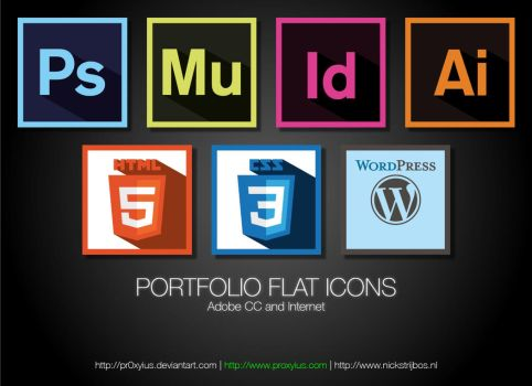 Flat Icons Adobe CC and Internet by pr0xyius