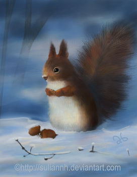 Winter Woodland Squirrel by SuliannH