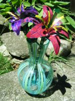Recycled Lg PinkPurple Lilies2 by Christine-Eige