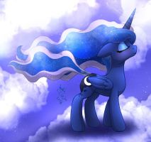 MLP FIM - Princess Luna Wind Blow by Joakaha