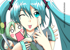 Hatsune and Hachune by XionScions