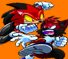 Kage The Hedgehog VS Brandon The Wolf (Base Used) by pokegirl150