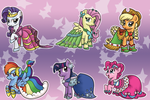 Ponies in Gala Dresses by yuliya