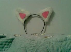Andrew's White Cat Ears by RoseHexwit
