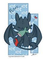 HTTYD - Toothless love fish by caycowa
