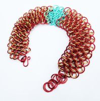 Iron Man Dragonscale Weave Chainmail Bracelet by FaerieForgeDesign