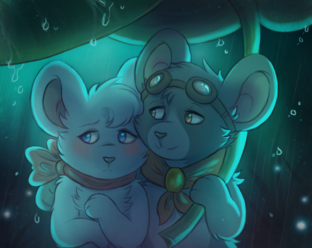 Two lovers and rain by Myekaa