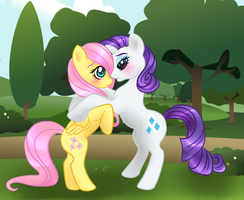 Fluttershy X Rarity by Passionateshadow