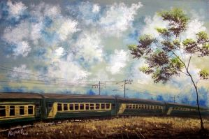 Tree and sripy train by EvgenyAverin