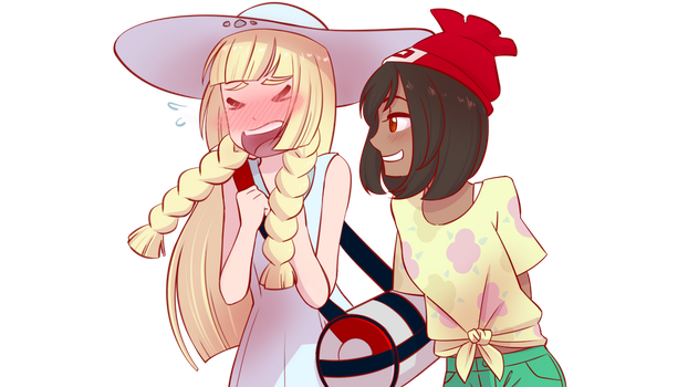 Pkmn Moon-Vera01+Lillie- A Tall Glass of Mocha?? by FoxxBrush