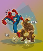 SPIDEY vs WOLVIE by CaziTena
