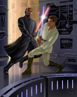 Obi-Wan vs. Darth Maul by AlanGutierrezArt