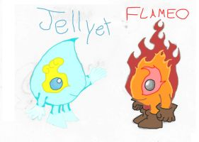 Flameo and Jellyet by vampirefrog22