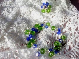 Blue and green glass beads set by Mirtus63