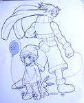 Day 19 - Sofu-Tobed (RabbitBoy) and Oshiro by Afroblue72