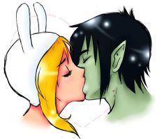 Marshall Lee and Fiona kissing by vocaloidlen