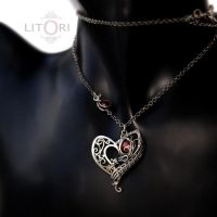 RED EXTASY - silver pendant heart with pearls by litori