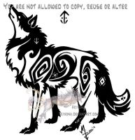 Hieroglyph tribal wolf 2 by Arixona