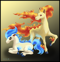 Ponyta and Rapidash by Ninjendo