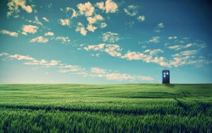 TARDIS Blue Skies Wallpaper by wizard-duels