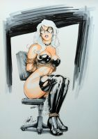 Black Cat Tied on Chair by HM1art